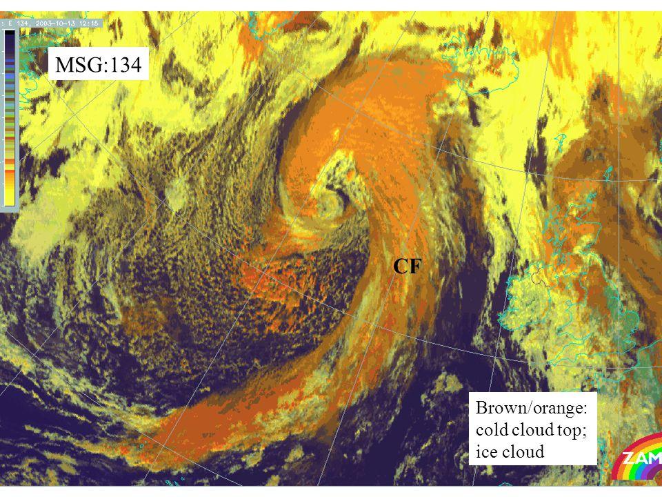 45 MSG:134 Brown/orange: cold cloud top; ice cloud CF