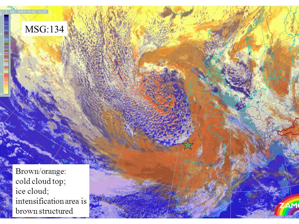 52 MSG:134 Brown/orange: cold cloud top; ice cloud; intensification area is brown structured