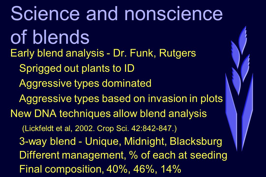Science and nonscience of blends Early blend analysis - Dr.