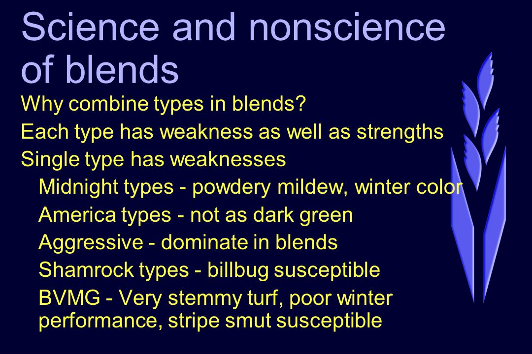 Science and nonscience of blends Why combine types in blends? Each type has weakness as well as strengths Single type has weaknesses Midnight types -