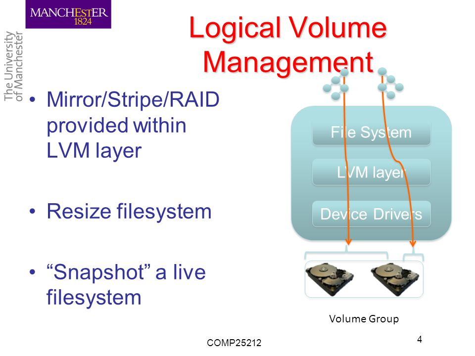Logical Volume Management Mirror/Stripe/RAID provided within LVM layer Resize filesystem Snapshot a live filesystem COMP25212 4 OS Device Drivers File System LVM layer Volume Group