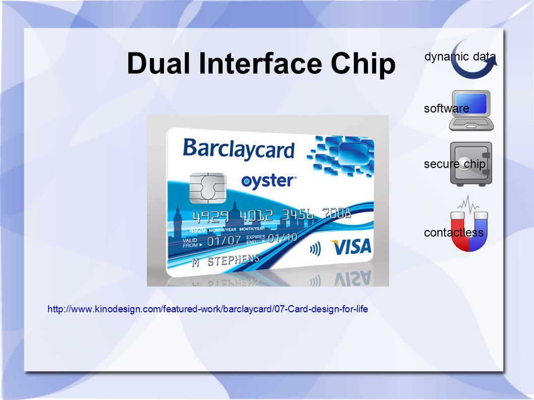 Dual Interface Chip http://www.kinodesign.com/featured-work/barclaycard/07-Card-design-for-life software dynamic data secure chip contactless