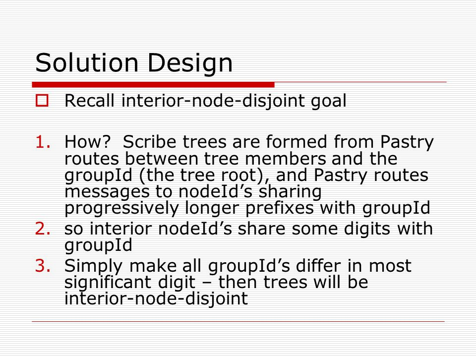 Solution Design  Recall interior-node-disjoint goal 1.How.