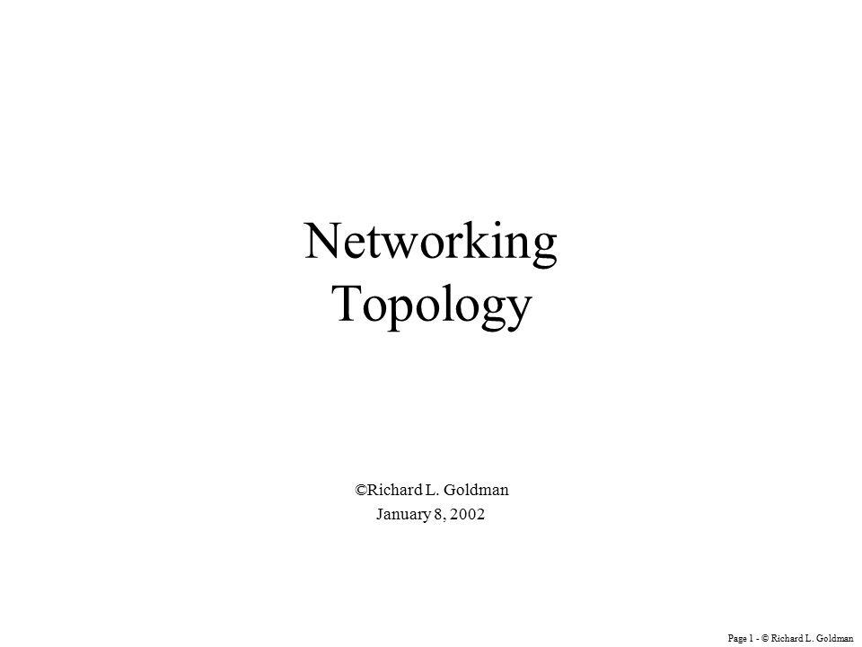 Page 1 - © Richard L. Goldman Networking Topology ©Richard L. Goldman January 8, 2002