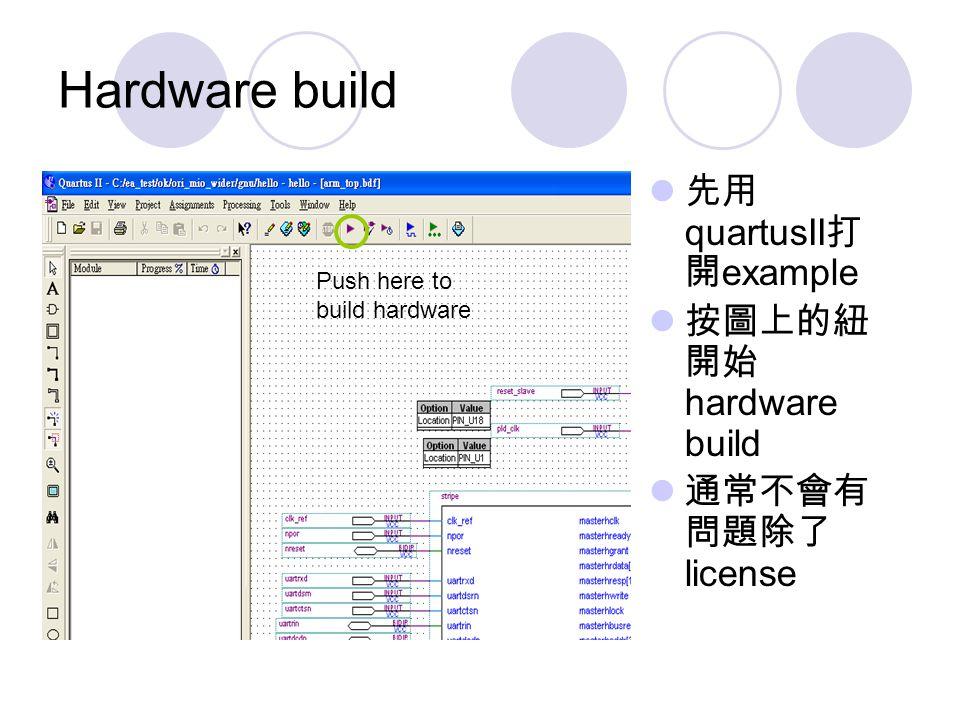 Hardware build 先用 quartusII 打 開 example 按圖上的紐 開始 hardware build 通常不會有 問題除了 license Push here to build hardware