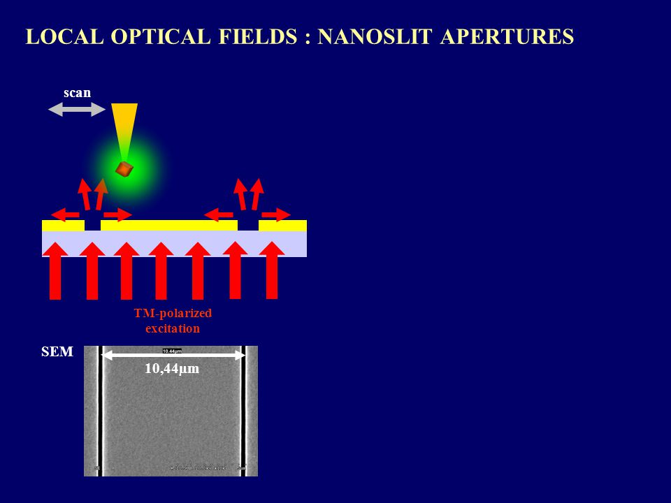 LOCAL OPTICAL FIELDS : NANOSLIT APERTURES TM-polarized excitation 10,44µm SEM scan
