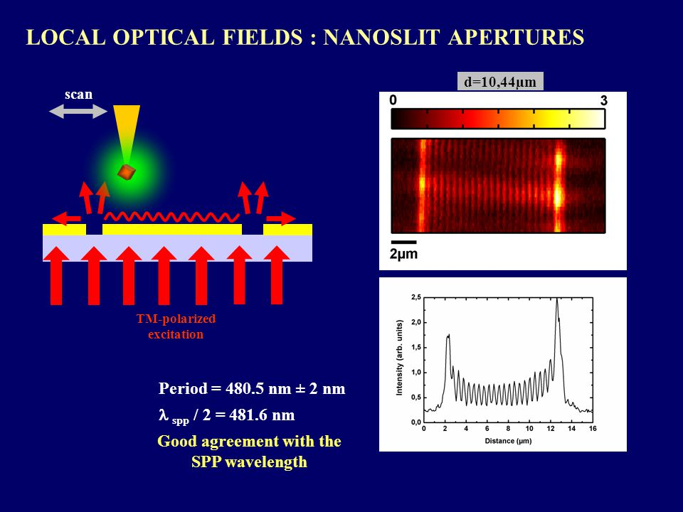 LOCAL OPTICAL FIELDS : NANOSLIT APERTURES TM-polarized excitation scan d=10,44µm Period = 480.5 nm ± 2 nm spp / 2 = 481.6 nm Good agreement with the SPP wavelength