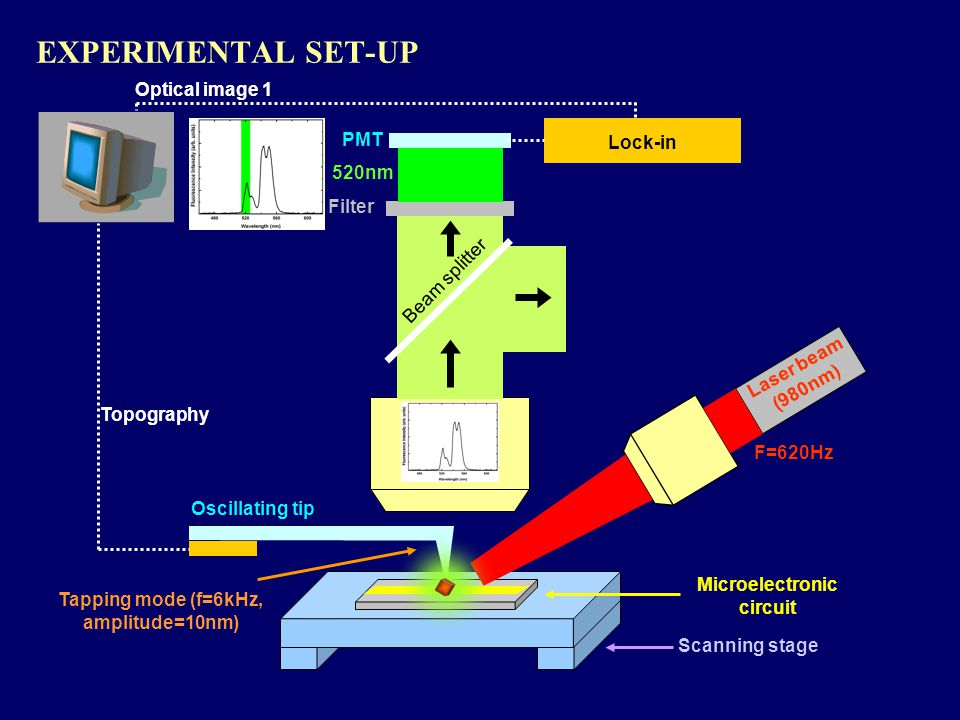 EXPERIMENTAL SET-UP Microelectronic circuit Oscillating tip Topography Scanning stage Tapping mode (f=6kHz, amplitude=10nm) Laser beam (980nm) F=620Hz