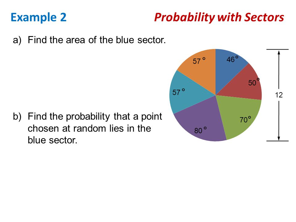 Example 2 Probability with Sectors ° ° ° ° ° ° a)Find the area of the blue sector. 12 b)Find the probability that a point chosen at random lies in the