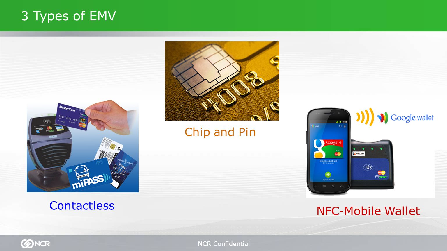 NCR Confidential 3 Types of EMV Chip and Pin NFC-Mobile Wallet Contactless Chip and Pin Contactless NFC-Mobile Wallet