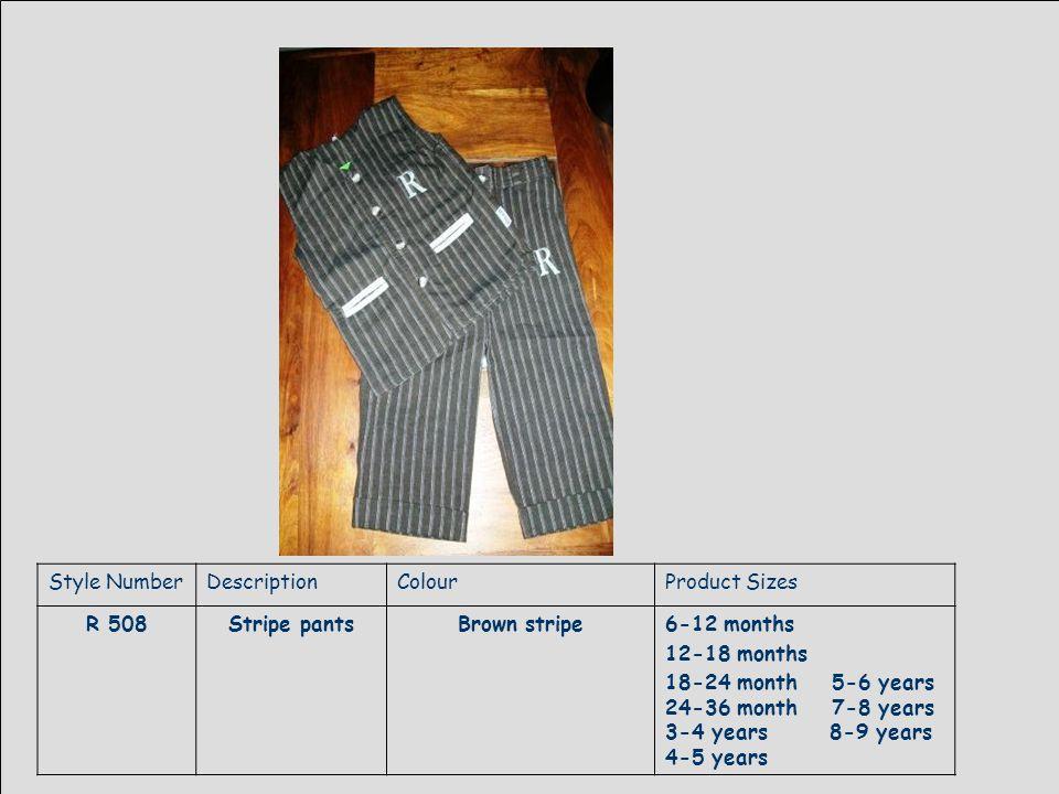Style NumberDescriptionColourProduct Sizes R 509Denim jeansdenim6-12 months 12-18 months 18-24 month 5-6 years 24-36 month 7-8 years 3-4 years 8-9 years 4-5 years