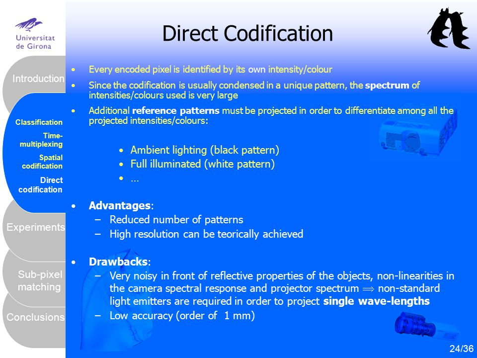 25 Conclusions Sub-pixel matching Experiments Introduction Classification Time- multiplexing Spatial codification Direct codification Direct Codificat