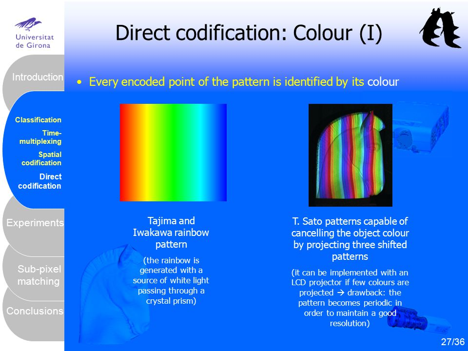 28 Conclusions Sub-pixel matching Experiments Introduction Classification Time- multiplexing Spatial codification Direct codification Direct codificat