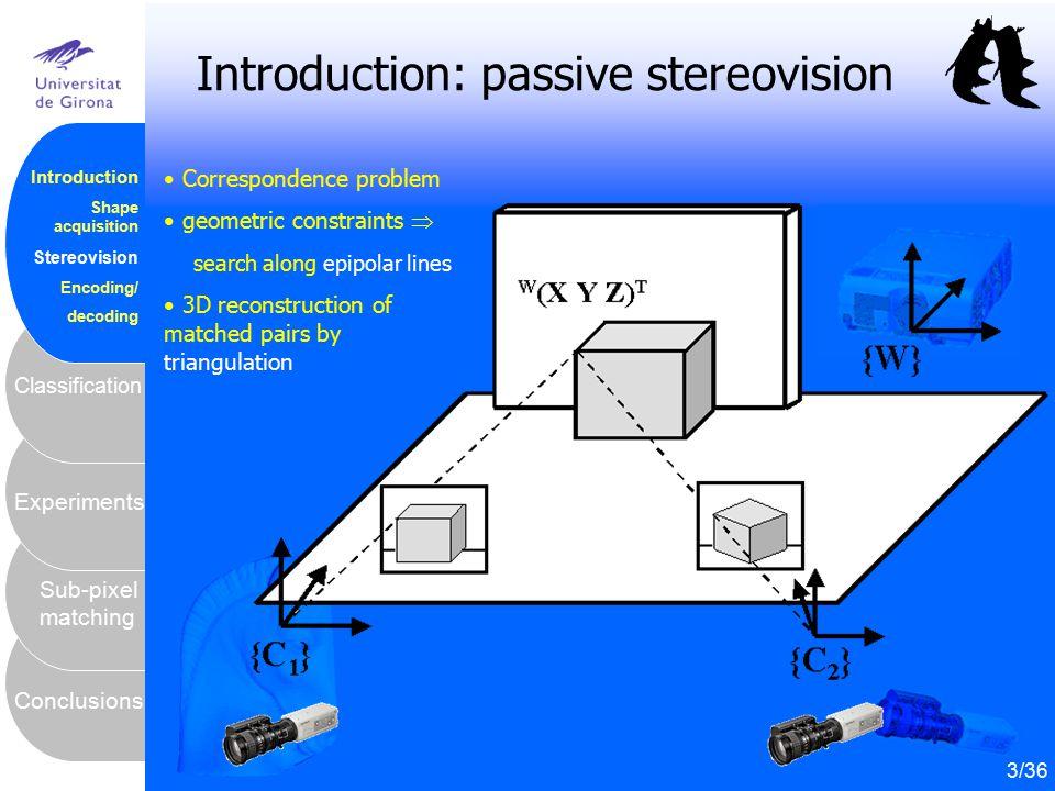 4 Conclusions Sub-pixel matching Experiments Classification Introduction Shape acquisition Stereovision Encoding/ decoding Introduction: passive stere