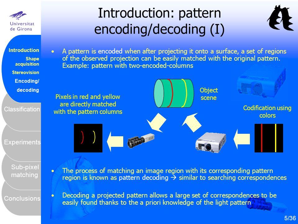 6 Conclusions Sub-pixel matching Experiments Classification Introduction Shape acquisition Stereovision Encoding/ decoding Introduction: pattern encod