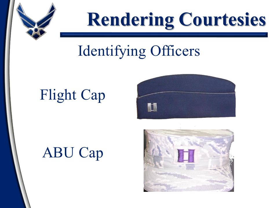 Rendering Courtesies Identifying Officers Flight Cap ABU Cap