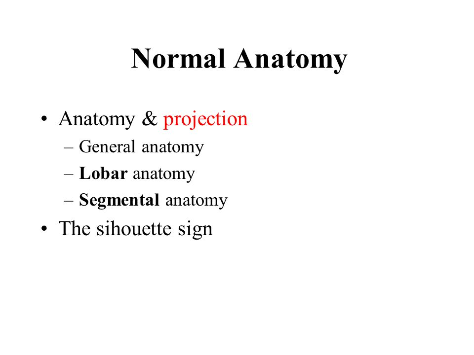 Normal Anatomy Anatomy & projection –General anatomy –Lobar anatomy –Segmental anatomy The sihouette sign