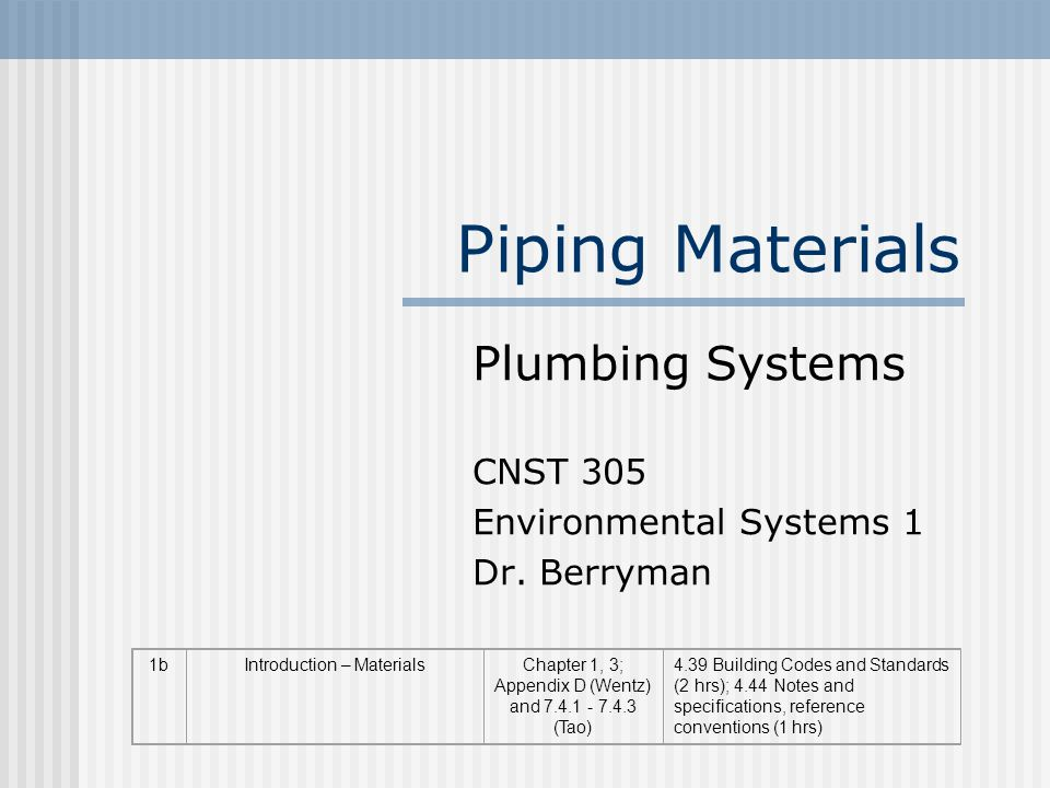 Piping Materials Plumbing Systems CNST 305 Environmental Systems 1 Dr.