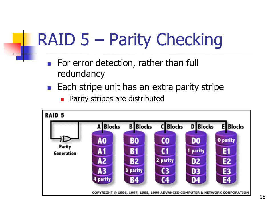 15 RAID 5 – Parity Checking For error detection, rather than full redundancy Each stripe unit has an extra parity stripe Parity stripes are distributed