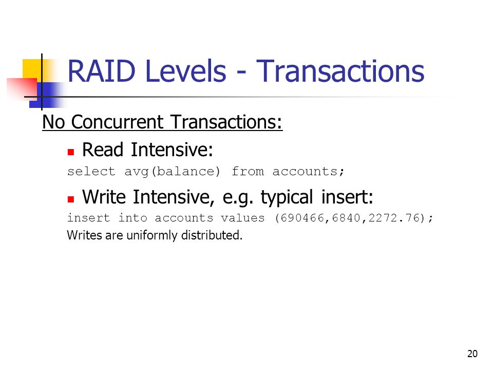 20 RAID Levels - Transactions No Concurrent Transactions: Read Intensive: select avg(balance) from accounts; Write Intensive, e.g.