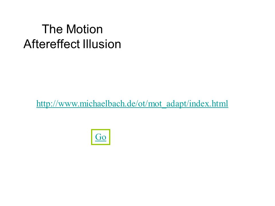 The Motion Aftereffect Illusion http://www.michaelbach.de/ot/mot_adapt/index.html Go