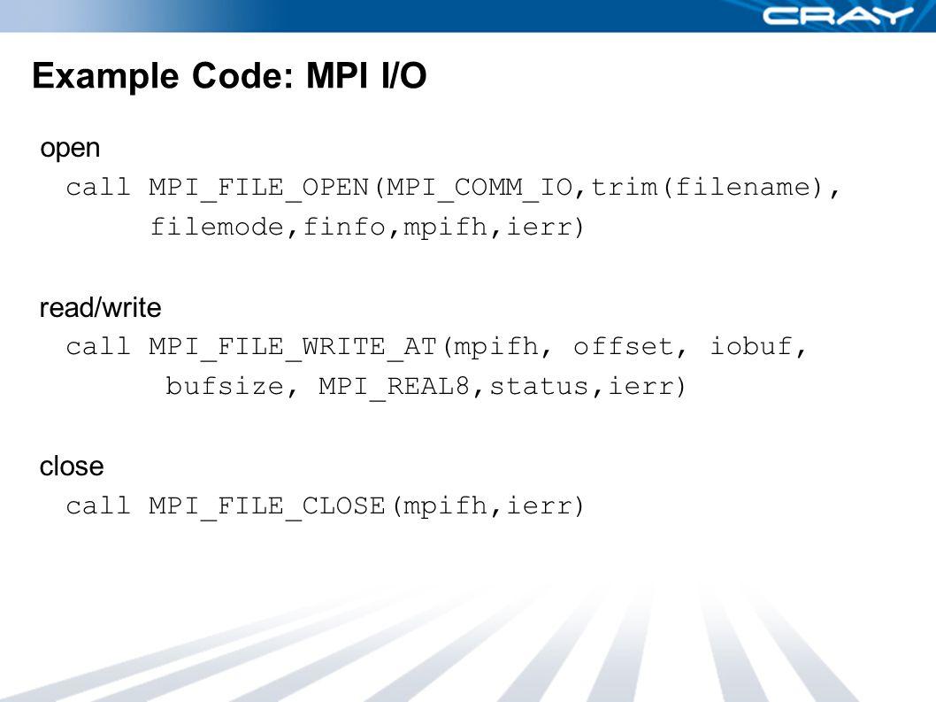Example Code: MPI I/O open call MPI_FILE_OPEN(MPI_COMM_IO,trim(filename), filemode,finfo,mpifh,ierr) read/write call MPI_FILE_WRITE_AT(mpifh, offset,