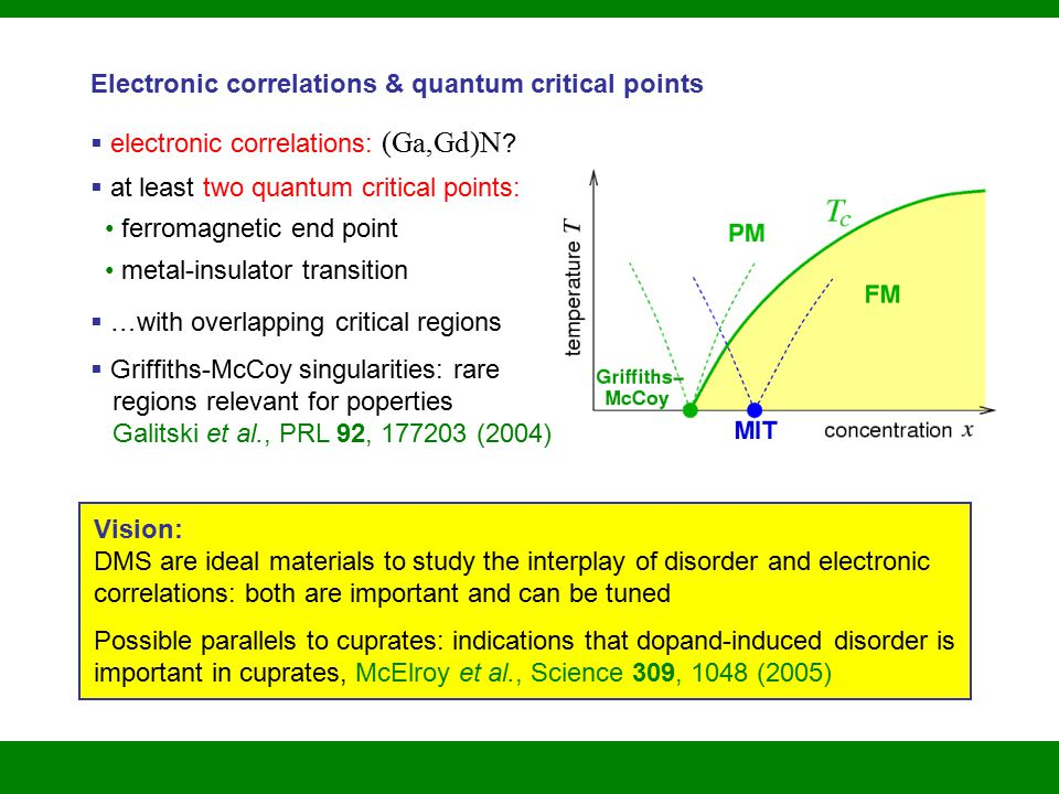 Electronic correlations & quantum critical points  electronic correlations: (Ga,Gd)N .