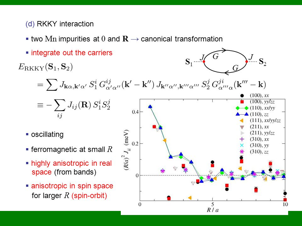 (d) RKKY interaction  two Mn impurities at 0 and R → canonical transformation  integrate out the carriers  oscillating  ferromagnetic at small R  highly anisotropic in real space (from bands)  anisotropic in spin space for larger R (spin-orbit) G G J J S1S1 S2S2