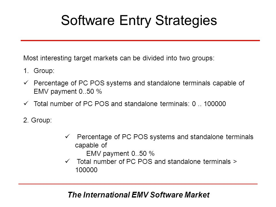 The International EMV Software Market Software Entry Strategies Most interesting target markets can be divided into two groups: 1.Group: Percentage of