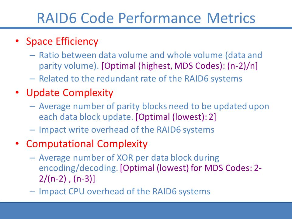 RAID6 Code Performance Metrics Space Efficiency – Ratio between data volume and whole volume (data and parity volume).