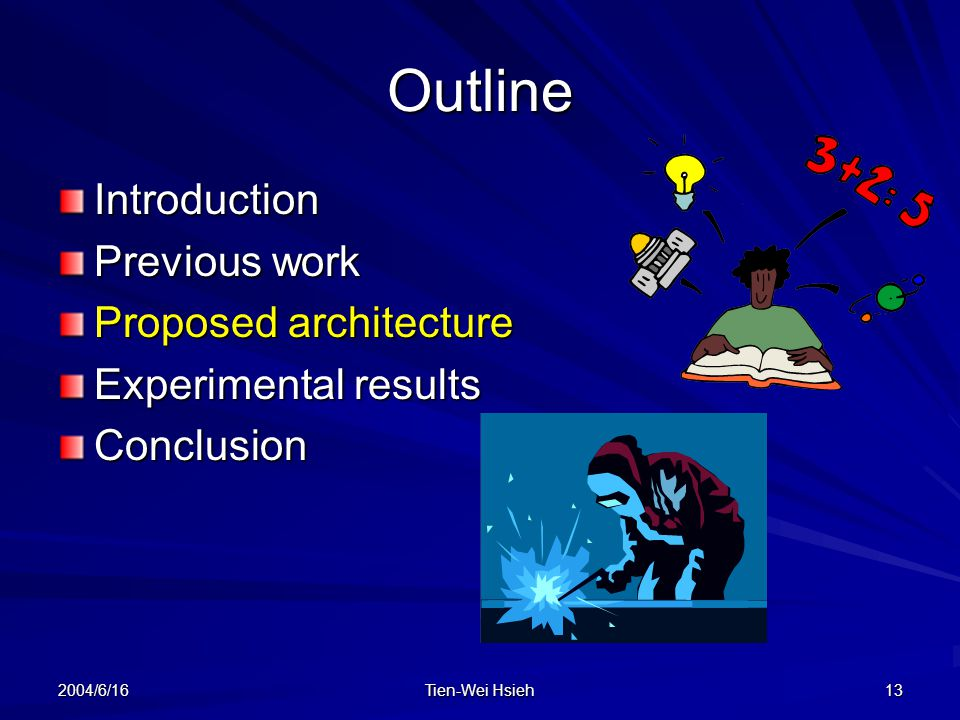 2004/6/16 Tien-Wei Hsieh 13 Outline Introduction Previous work Proposed architecture Experimental results Conclusion