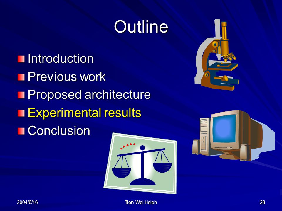 2004/6/16 Tien-Wei Hsieh 28 Outline Introduction Previous work Proposed architecture Experimental results Conclusion