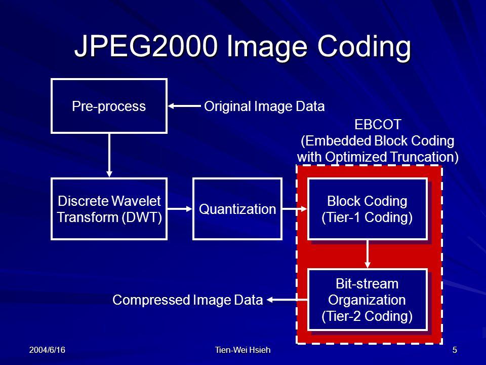 2004/6/16 Tien-Wei Hsieh 5 Pre-process Discrete Wavelet Transform (DWT) Quantization Block Coding (Tier-1 Coding) Block Coding (Tier-1 Coding) Bit-stream Organization (Tier-2 Coding) Bit-stream Organization (Tier-2 Coding) Original Image Data Compressed Image Data EBCOT (Embedded Block Coding with Optimized Truncation) JPEG2000 Image Coding