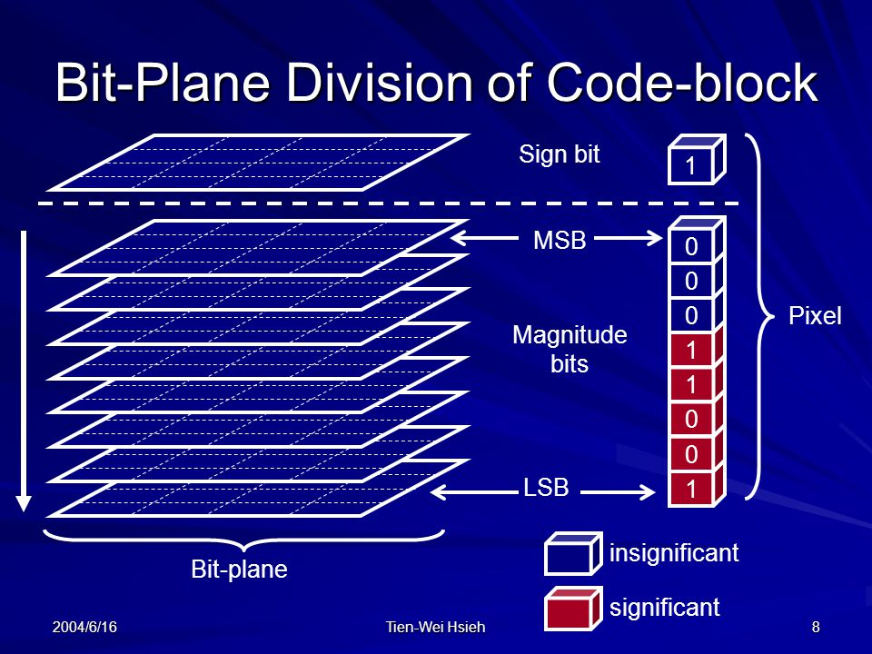 2004/6/16 Tien-Wei Hsieh 8 Bit-Plane Division of Code-block 1 Sign bit MSB LSB Magnitude bits insignificant significant Pixel Bit-plane 1 0 0 1 1 0 0 0