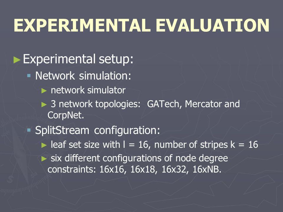 EXPERIMENTAL EVALUATION ► ► Experimental setup:   Network simulation: ► ► network simulator ► ► 3 network topologies: GATech, Mercator and CorpNet.