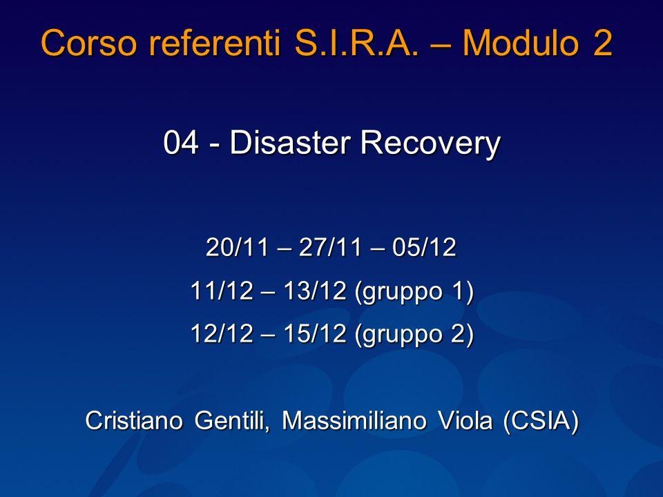 Corso referenti S.I.R.A.