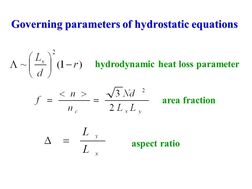 Governing parameters of hydrostatic equations area fraction aspect ratio hydrodynamic heat loss parameter
