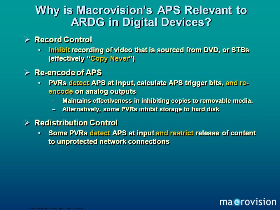 © 1999 CHASE HQ - Company - 654321 - May 11, 2015 - p 6 Why is Macrovision's APS Relevant to ARDG in Digital Devices?  Record Control Inhibit recordi