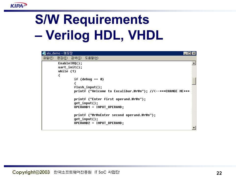 22 Copyright ⓒ 2003 S/W Requirements – Verilog HDL, VHDL