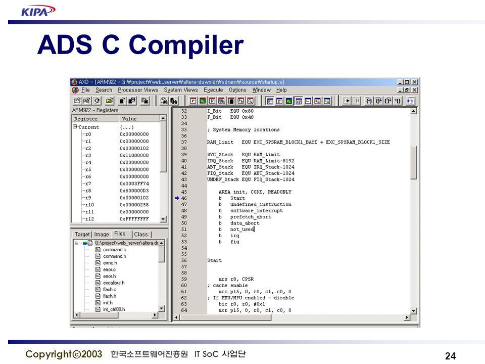 24 Copyright ⓒ 2003 ADS C Compiler