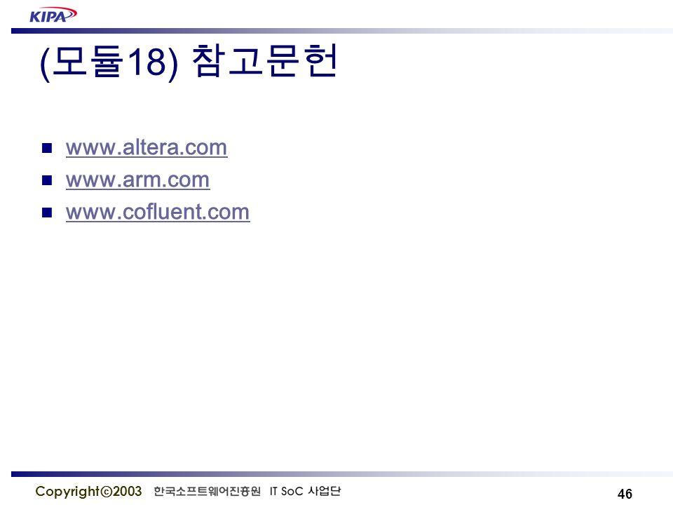 46 Copyright ⓒ 2003 ( 모듈 18) 참고문헌 www.altera.com www.arm.com www.cofluent.com
