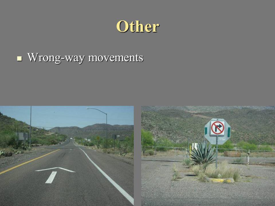 Other Wrong-way movements Wrong-way movements