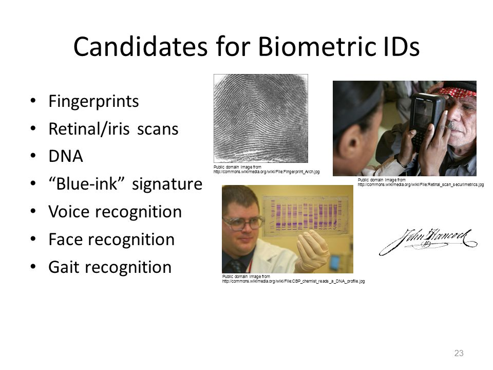 Candidates for Biometric IDs Fingerprints Retinal/iris scans DNA Blue-ink signature Voice recognition Face recognition Gait recognition 23 Public domain image from http://commons.wikimedia.org/wiki/File:Retinal_scan_securimetrics.jpg Public domain image from http://commons.wikimedia.org/wiki/File:CBP_chemist_reads_a_DNA_profile.jpg Public domain image from http://commons.wikimedia.org/wiki/File:Fingerprint_Arch.jpg