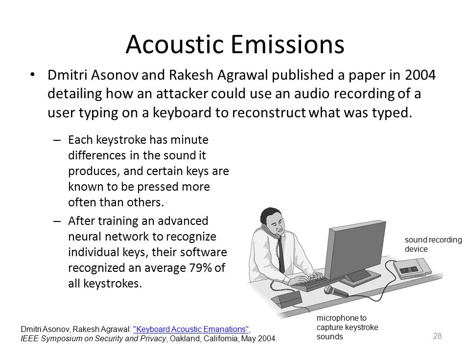 Acoustic Emissions 28 Dmitri Asonov and Rakesh Agrawal published a paper in 2004 detailing how an attacker could use an audio recording of a user typi