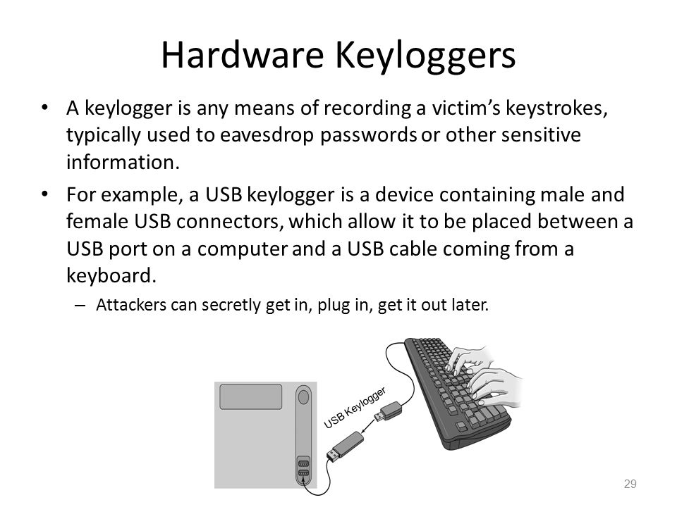 Hardware Keyloggers A keylogger is any means of recording a victim's keystrokes, typically used to eavesdrop passwords or other sensitive information.