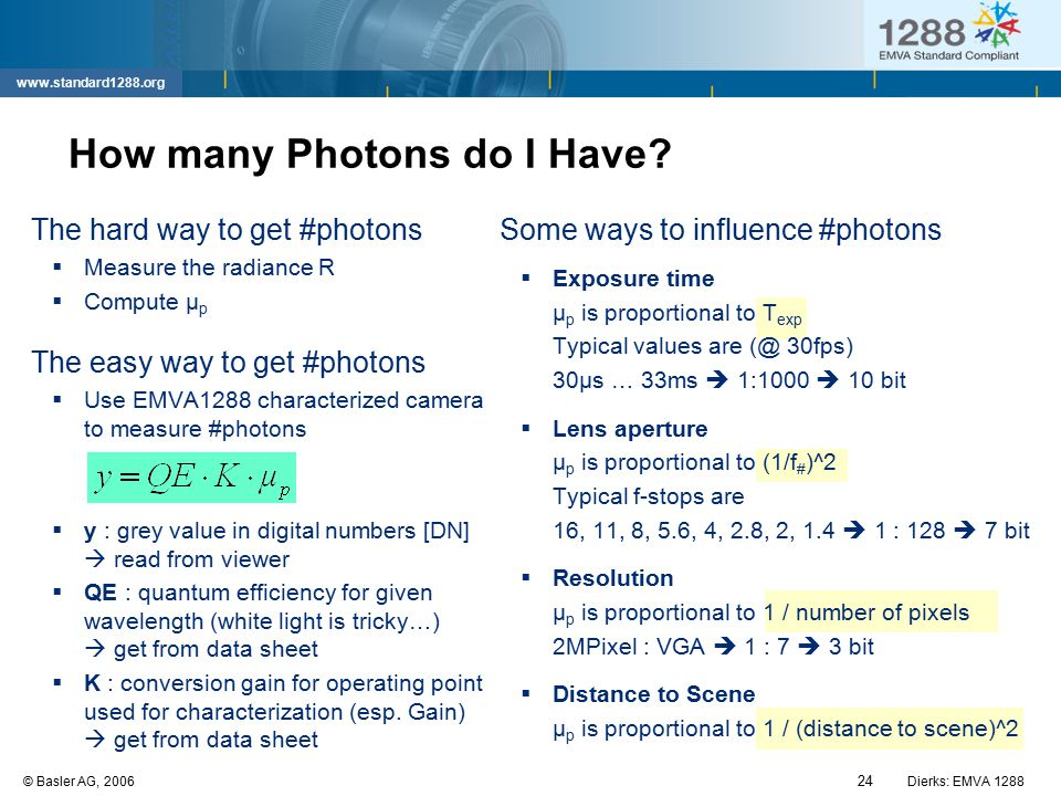 24 © Basler AG, 2006Dierks: EMVA 1288 www.standard1288.org How many Photons do I Have? The hard way to get #photons  Measure the radiance R  Compute
