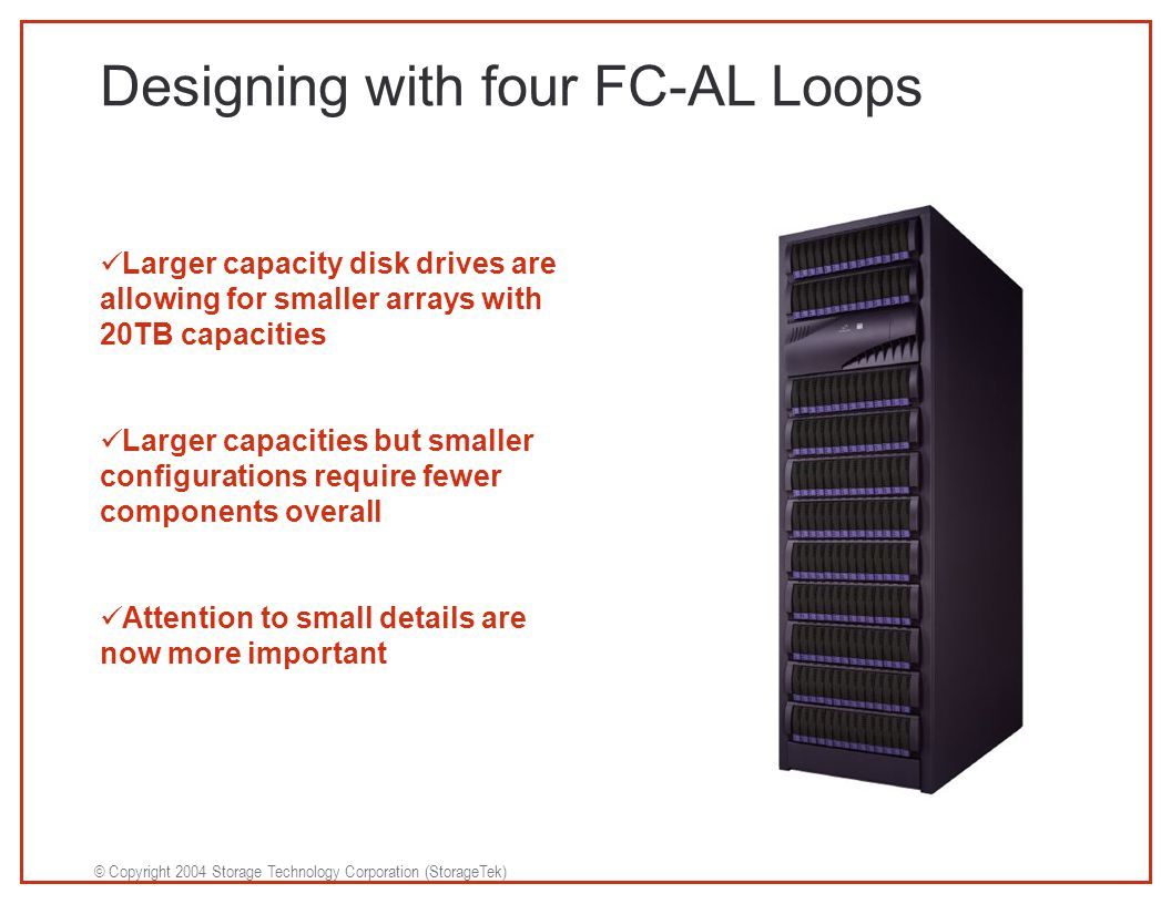 © Copyright 2004 Storage Technology Corporation (StorageTek) Designing with four FC-AL Loops Larger capacity disk drives are allowing for smaller arrays with 20TB capacities Larger capacities but smaller configurations require fewer components overall Attention to small details are now more important
