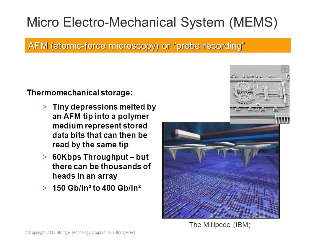 © Copyright 2004 Storage Technology Corporation (StorageTek) Micro Electro-Mechanical System (MEMS) Thermomechanical storage: >Tiny depressions melted by an AFM tip into a polymer medium represent stored data bits that can then be read by the same tip >60Kbps Throughput – but there can be thousands of heads in an array >150 Gb/in² to 400 Gb/in² The Millipede (IBM) AFM (atomic-force microscopy) or probe recording