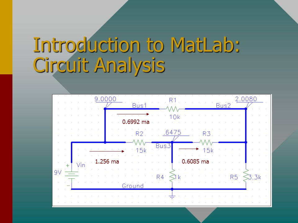 Introduction to MatLab: Circuit Analysis 0.6992 ma 0.6085 ma1.256 ma