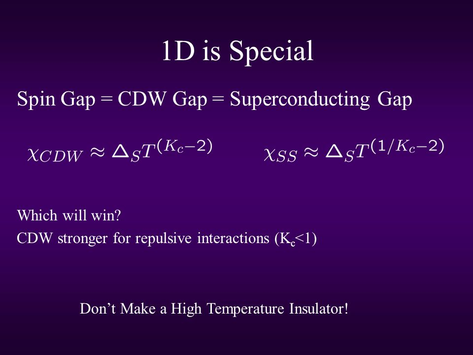 1D is Special Spin Gap = CDW Gap = Superconducting Gap Which will win.